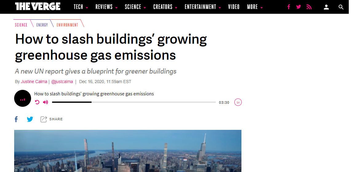 [The Verge] How to slash buildings' growing greenhouse gas emissions